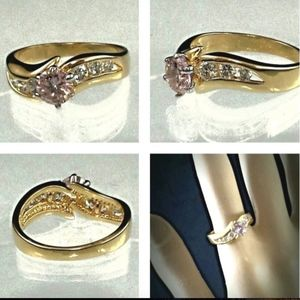 Gold Plated Cocktail  Ring Pink sizes 4 5